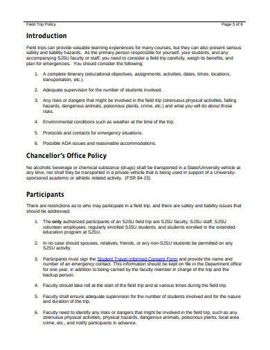 sample field trip policy template