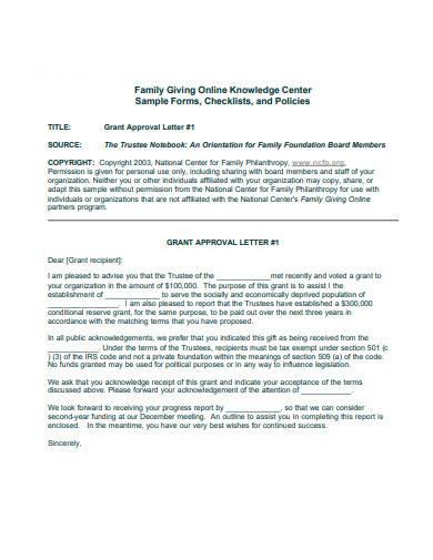 sample grant approval letter