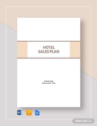 sample hotel sales plan template