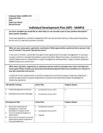 sample individual development plan