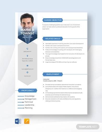 sample instructor resume template