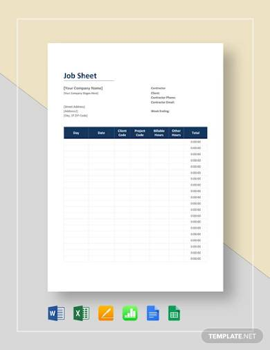 sample job sheet template