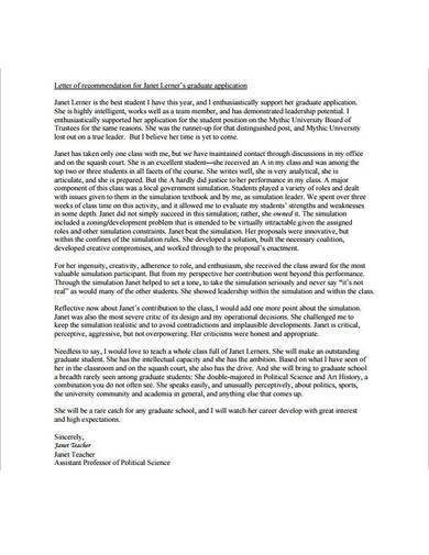 sample letter of recommendation for graduate school