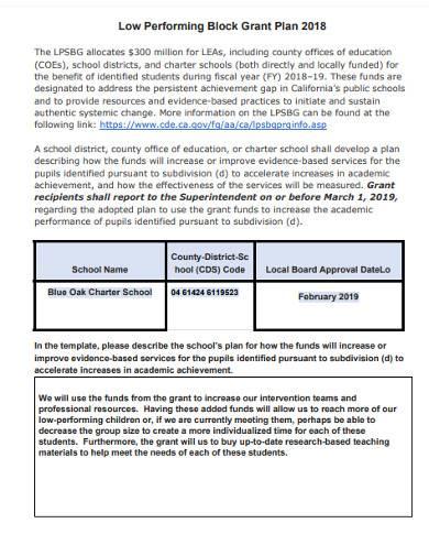 sample low performing block grant plan