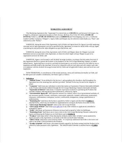 sample marketing agreement template