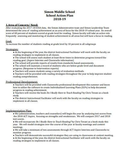 sample middle school action plan