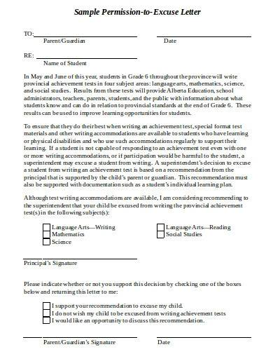 sample permission to excuse letter template