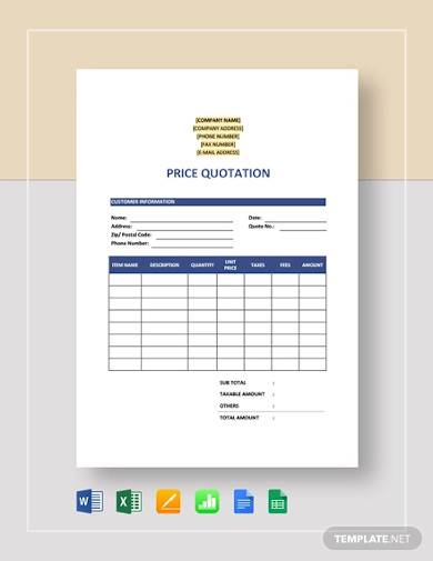 sample price quotation template