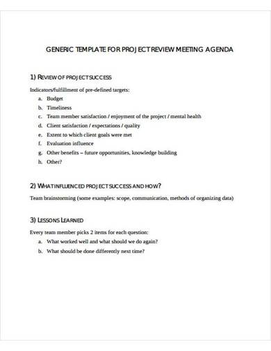 sample project review meeting agenda