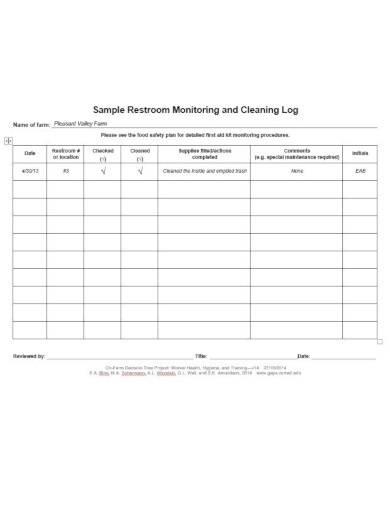 sample restroom cleaning log