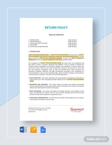 sample return policy template
