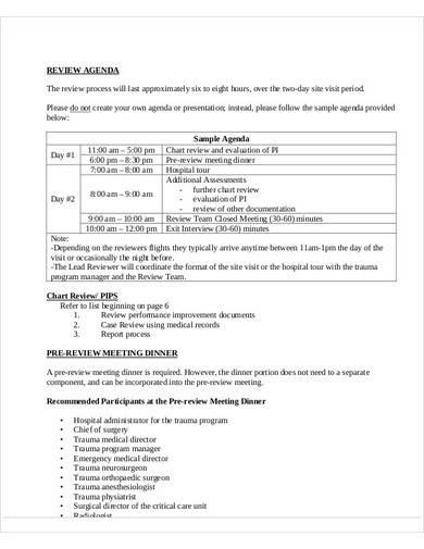 sample review agenda template