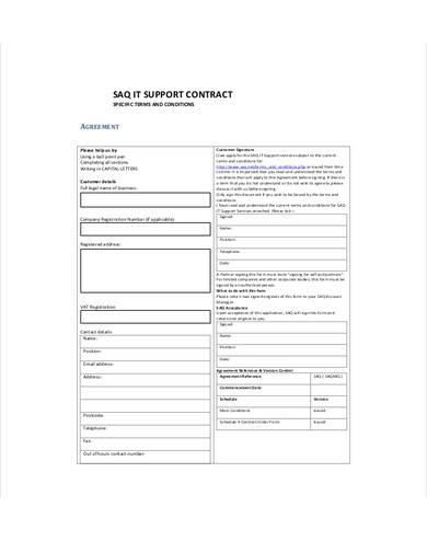 sample saq it support contract