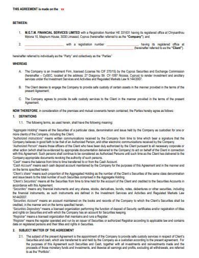sample safe custody agreement
