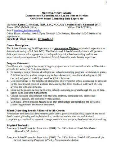sample school counselor daily log
