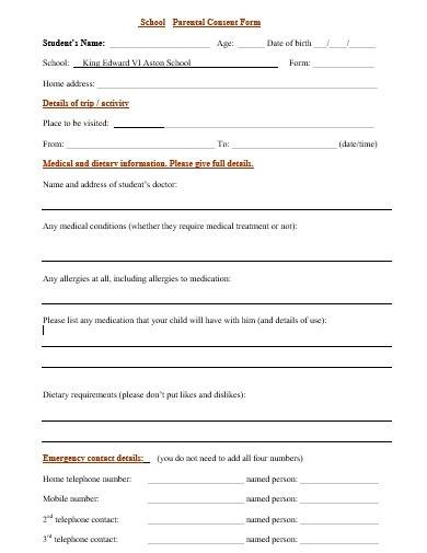 sample school parental consent form