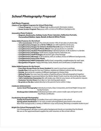 sample school photography proposal