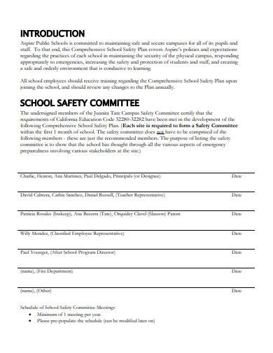 sample school safety plan template