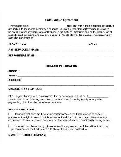 sample side artist agreement