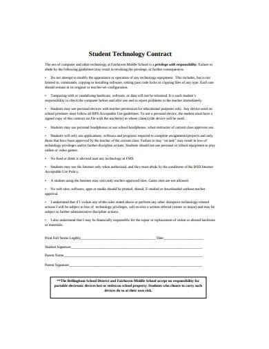 sample student technology contract