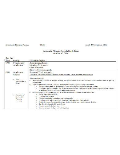 sample systematic planning meeting agenda