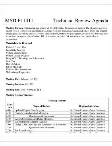 sample technical review agenda