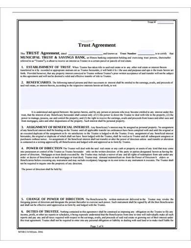 sample trust agreement format
