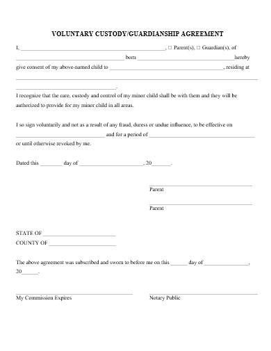 Free 15 Custody Agreement Samples In Ms Word Pages Google Docs Pdf