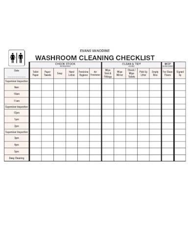 sample washroom cleaning checklist