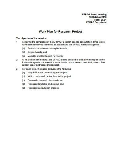 sample work plan for research project