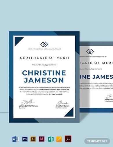 school certificate of merit template