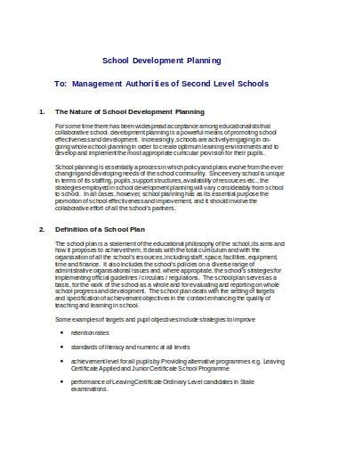 school development planning template