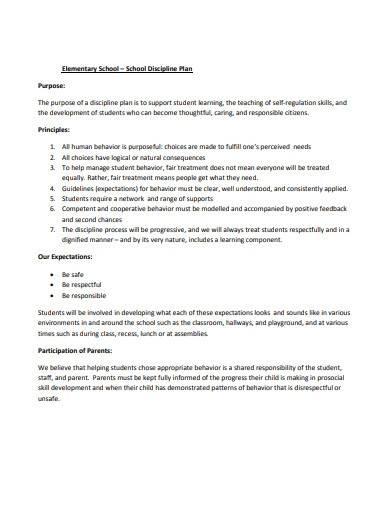 school discipline plan template