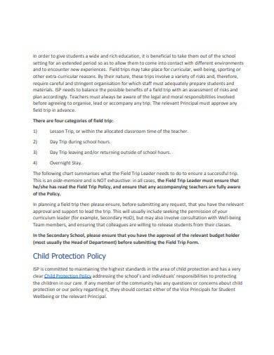 school field trip policy template