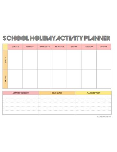 school holiday activity planner