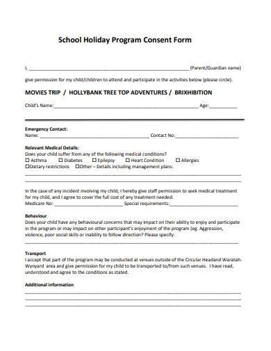 school holiday program consent form