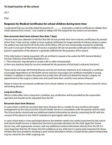 school medical absence letter