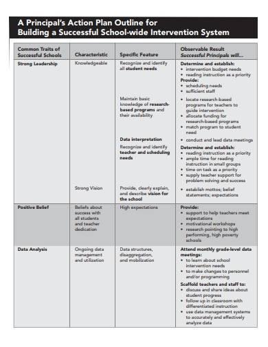 school principal action plan