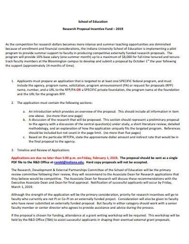 school research proposal incentive fund