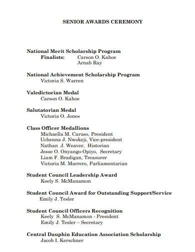 school senior award ceremony program