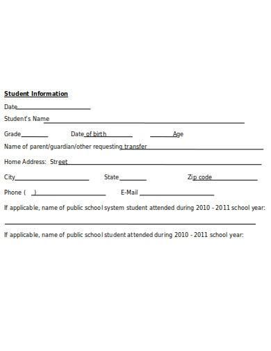 school student transfer form template
