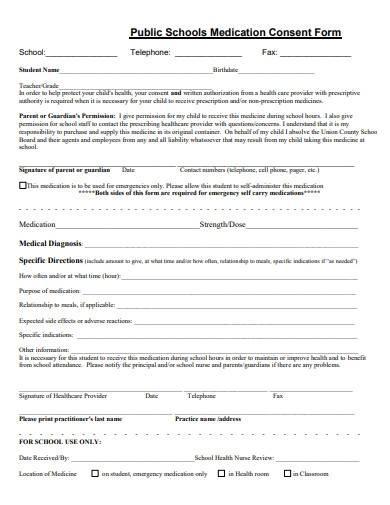 schools medication consent form