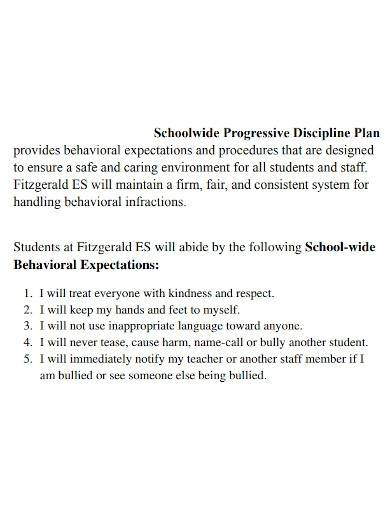 schoolwide progressive discipline plan