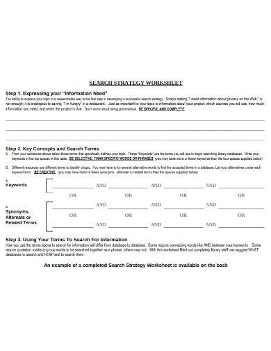 search strategy worksheet template