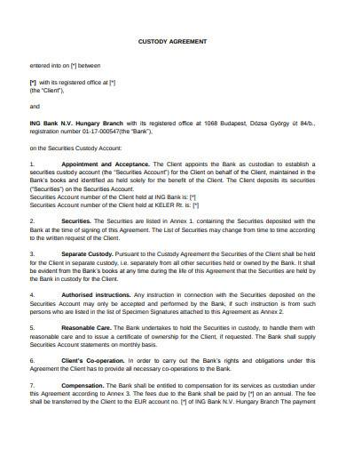simple custody agreement template
