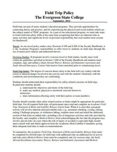 simple field trip policy template