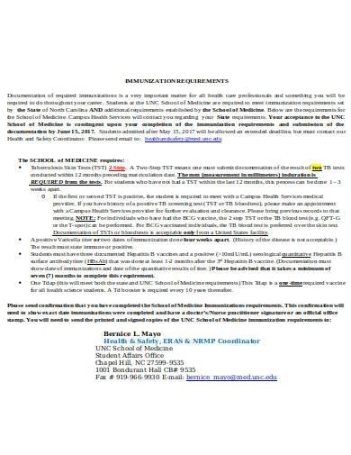 simple immunization requirements