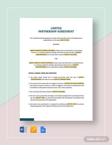 simple limited partnership agreement
