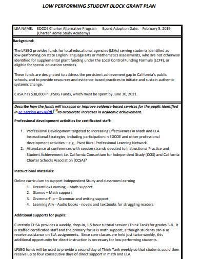 simple low performing student block grant plan