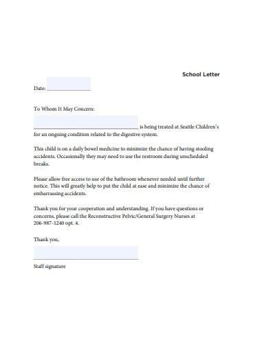 simple school excuse letter template